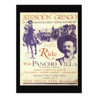 General mexicano del héroe de Pancho Villa Invitación 16,5 X 22,2 Cm