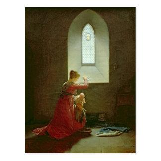 Genevieve de Brabante que bautiza a su hijo en la Postal