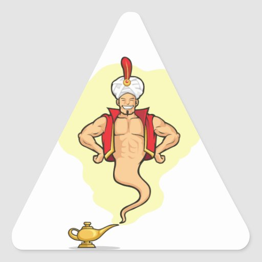 Genios Aparecer de la lámpara mágica Calcomania De Triangulo