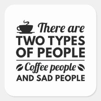 Gente del café pegatina cuadrada