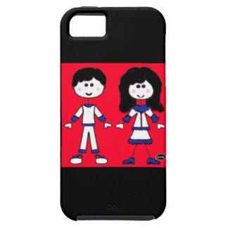 Gente del palillo del chica y del muchacho iPhone 5 carcasas