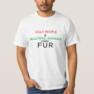 Gente fea de la camisa del vegano y piel hermosa