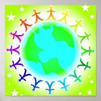 Gente unida encima del globo del mundo póster