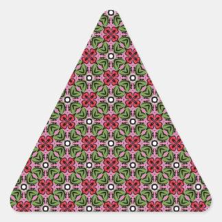 Geo rosado y verde pegatina triangular