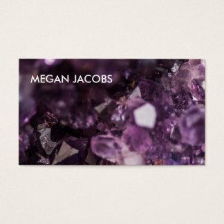 Geode cristalino púrpura hermoso e intrépido tarjeta de visita