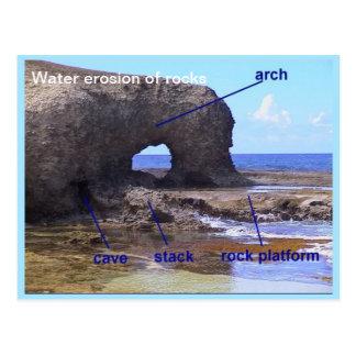 Geografía, tierra, erosión de agua de rocas postal