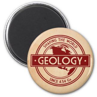 Geología que forma el logotipo del mundo imán redondo 5 cm