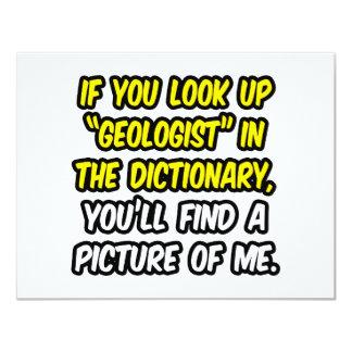 Geólogo en diccionario… mi imagen invitación 10,8 x 13,9 cm