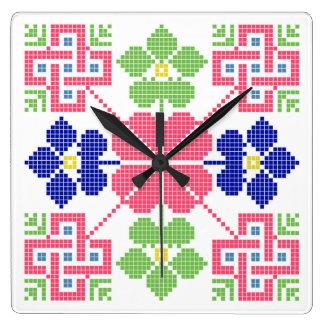geom étnico tradicional del símbolo popular del reloj cuadrado