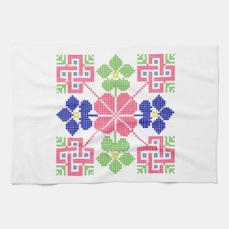 geom étnico tradicional del símbolo popular del toallas de cocina