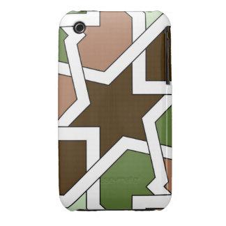 Geometría 04 del patrón de arabesco verde y marrón iPhone 3 protector