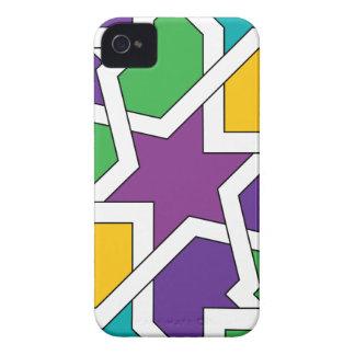 Geometría 11 de azulejo marroquí verde y morado iPhone 4 Case-Mate protectores