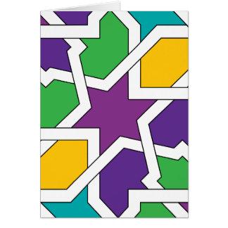Geometría 11 de azulejo marroquí verde y morado tarjeta
