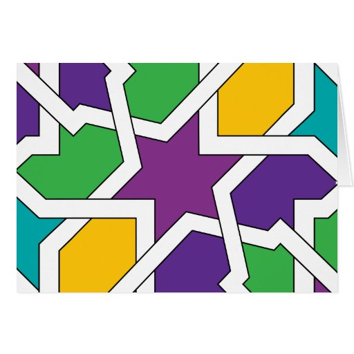 Geometría 11 de azulejo marroquí verde y morado felicitación