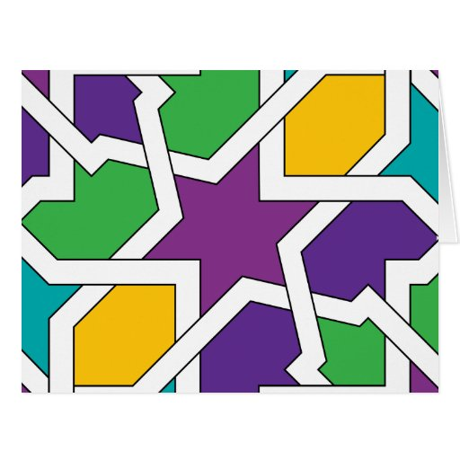 Geometría 11 de azulejo marroquí verde y morado felicitacion