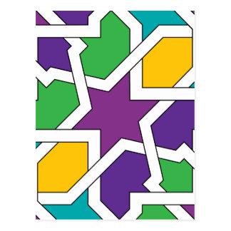 Geometría 11 de azulejo marroquí verde y morado tarjetas postales