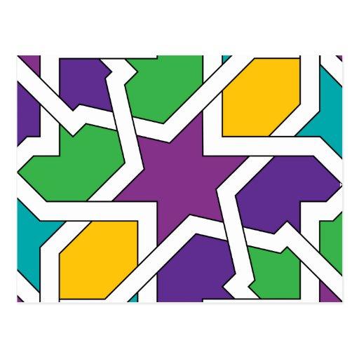 Geometría 11 de azulejo marroquí verde y morado postal