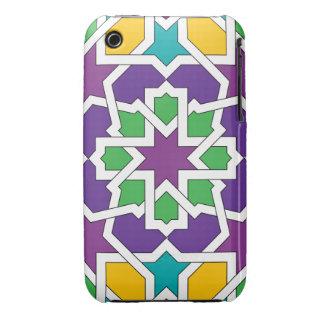 Geometría 11 del mosaico marroquí verde y violeta funda bareyly there para iPhone 3 de Case-Mate