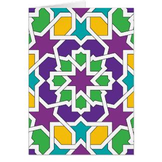 Geometría 11 del mosaico marroquí verde y violeta tarjeta