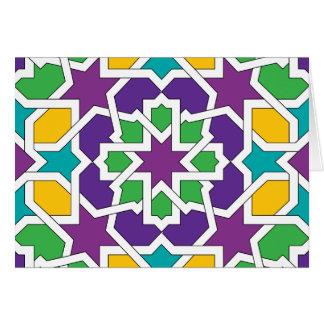 Geometría 11 del mosaico marroquí verde y violeta felicitaciones