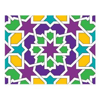 Geometría 11 del mosaico marroquí verde y violeta postal