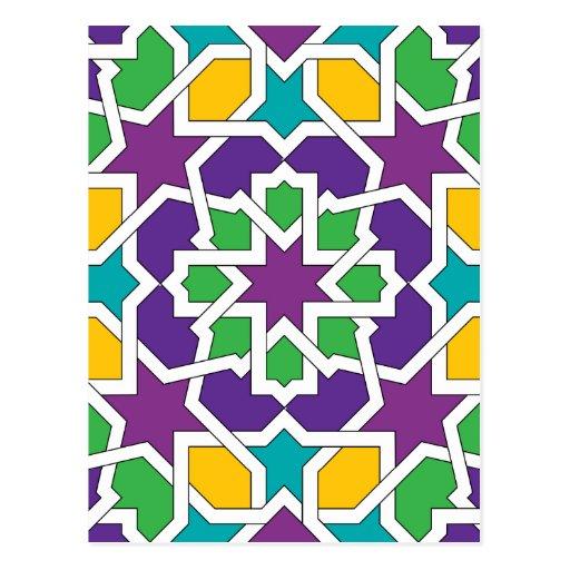Geometría 11 del mosaico marroquí verde y violeta tarjetas postales