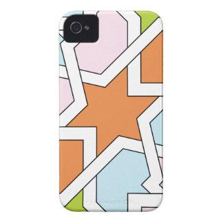 Geometría 12 de trazado de azulejo naranja y azul iPhone 4 funda