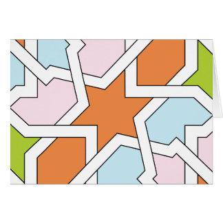 Geometría 12 de trazado de azulejo naranja y azul tarjeton
