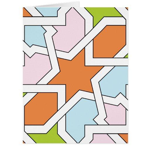 Geometría 12 de trazado de azulejo naranja y azul tarjetón
