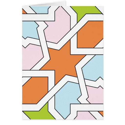 Geometría 12 de trazado de azulejo naranja y azul tarjeta