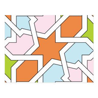 Geometría 12 de trazado de azulejo naranja y azul postales