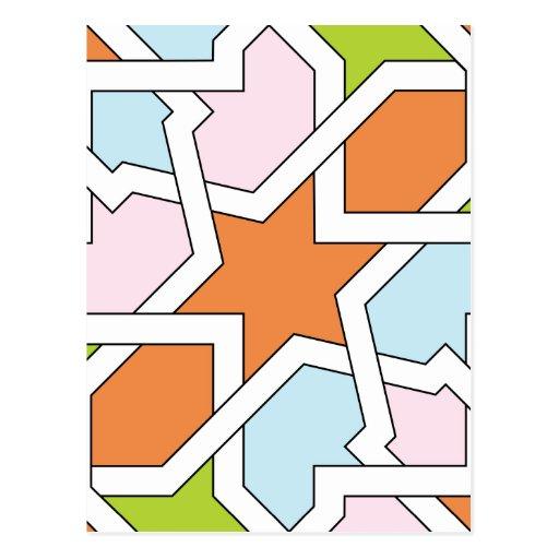 Geometría 12 de trazado de azulejo naranja y azul tarjetas postales