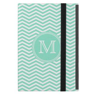 Geometría de chevrón menta y monograma gris iPad mini protectores