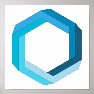 Geometría imposible: Hexágono azul Póster