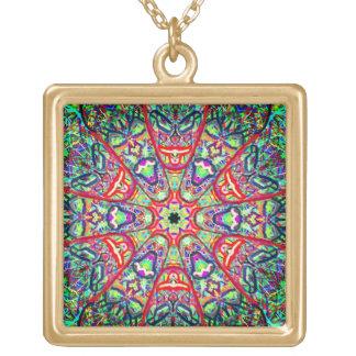 """Geometría sagrada """"máscaras tribales"""" en marzo collar dorado"""