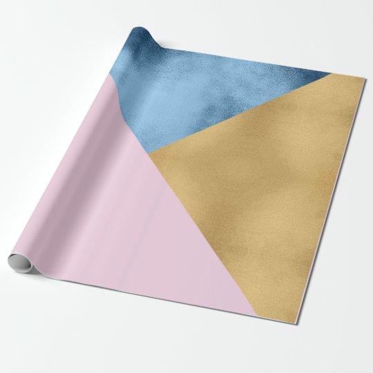 Geometría subió lila de cristal azul del pastel papel de regalo