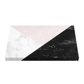 Geométrico abstracto de seda rosado de mármol impresión en lienzo