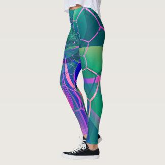 Geométrico colorido del Web abstracto Leggings