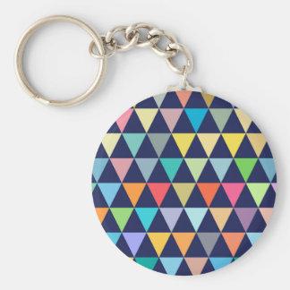 Geométrico colorido llavero redondo tipo chapa