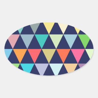 Geométrico colorido pegatina ovalada