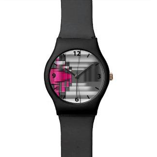 Geométrico gris y blanco del rosa de los números reloj