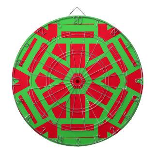 Geométrico temático del día de fiesta verde rojo tablero dardos