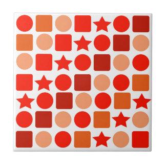 Geometrics anaranjado hermoso en la baldosa azulejo cuadrado pequeño