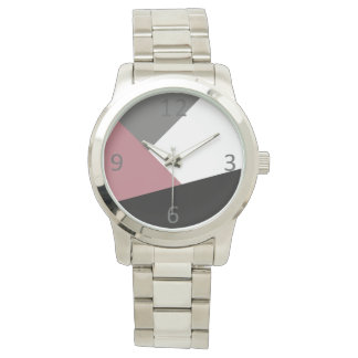 geometrics rosado, negro, gris polvoriento claro reloj de pulsera