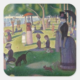 GEORGE SEURAT - Un 1884 del domingo por la tarde Pegatina Cuadrada