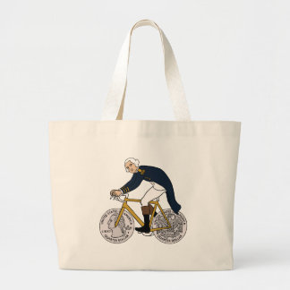 George Washington en la bici con las ruedas Bolso De Tela Gigante