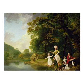 George y Maria Browne con su niño de cinco anciano Postal
