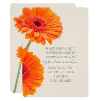 Gerbera anaranjado, invitación floral del boda