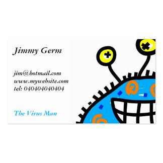 Germen azul del dibujo animado tarjetas de visita