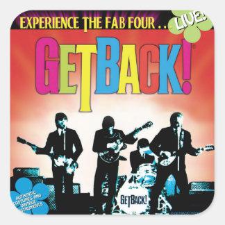 ¡GetBack! Pegatinas cuadrados del ®, brillantes Pegatina Cuadrada